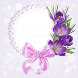 Openwork card with wreath of yellow and purple crocuses Royalty Free Stock Photography
