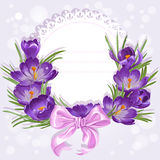 Openwork card with wreath of yellow and purple crocuses Stock Photo