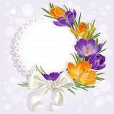 Openwork card with yellow and purple Royalty Free Stock Photo