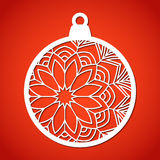 Openwork Christmas bauble. Laser Cutting template. Stock Photo