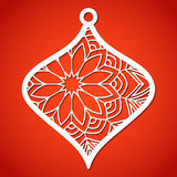 Openwork Christmas bauble. Laser Cutting template. Royalty Free Stock Images