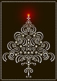 Openwork Christmas tree on a dark background.Card Royalty Free Stock Image