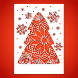 Openwork Christmas tree and snowflakes. Laser Cutting template for greeting card Stock Image