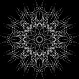 Openwork circular ornament. Decorative ornate pattern of curved lines. The image is made in black and white, monochrome. Openwork circular ornament. Decorative Royalty Free Stock Photos