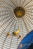 Openwork design of a dome made of glass and metal. Russia, Moscow - 11 July 2018. Exhibition of Achievements of the National Economy. Pavilion Astronautics and stock images