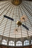 Openwork design of a dome made of glass and metal. Russia, Moscow - 11 July 2018. Exhibition of Achievements of the National Economy. Pavilion Astronautics and royalty free stock photo