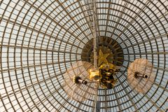 Openwork design of a dome made of glass and metal. royalty free stock images