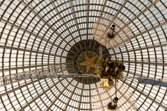 Openwork design of a dome made of glass and metal. stock photos