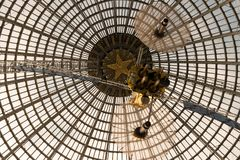 Openwork design of a dome made of glass and metal. stock photography