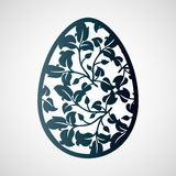 Openwork Easter egg with leaves. Laser cutting template. Royalty Free Stock Photo