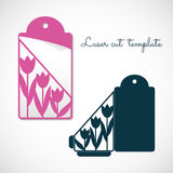 Openwork envelope tag with tulips. Laser cutting vector template vector illustration