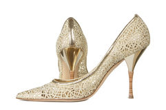 Openwork female shoes. On a white background Stock Photo