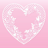 Openwork floral frame in the shape of a heart. Laser cutting template. Openwork floral frame in the shape of a heart. Laser cutting template for decoration stock illustration