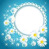 Openwork frame with daisy and bubbles Royalty Free Stock Photo