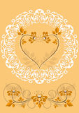 Openwork frame with orange flowers and hearts Royalty Free Stock Images