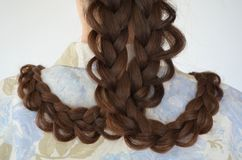 Openwork French braid, hairstyle with long length of hair. Openwork French braid, hairstyle with long length Mastery of weaving from hair royalty free stock photos