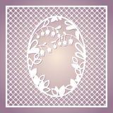Openwork fyrkantigt kort med liljekonvaljer Bitande mall för laser vektor illustrationer