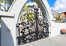 Openwork gate of Samara museum Kurlina`s House in sunny day in S Royalty Free Stock Photography