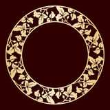 Openwork golden circular frame with leaves. Royalty Free Stock Image