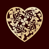 Openwork golden heart with leaves. Vector decorative element. Laser cutting or foiling template. Stock Image