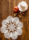 Openwork Häkelarbeit Knited Doily Stockfotos
