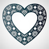 Openwork heart with floral pattern. Vector frame. Laser cutting Stock Photos