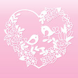 Openwork heart with flowers and birds. Laser cutting template. Royalty Free Stock Photos