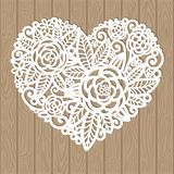Openwork heart with flowers. Vector decorative element. Laser cutting template for greeting cards, envelopes, wedding invitations, interior elements vector illustration