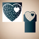 Openwork heart with gossamer. Laser cutting template. Royalty Free Stock Photo