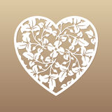 Openwork heart with leaves. Vector decorative element. Laser cut. Ting template for greeting cards, envelopes, wedding invitations, interior elements Stock Photography