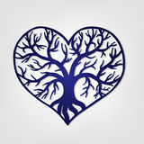Openwork heart with a tree inside. Laser cutting template Royalty Free Stock Photos