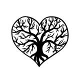 Openwork heart with a tree inside. Laser cutting template. For greeting cards, wedding invitations, decorative art objects Stock Image