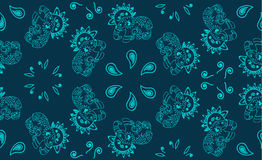 Openwork Indian elephant.Turquoise pattern with Paisley and elephants. On a blue background Stock Photo