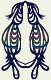 Openwork kontur av par av fåglar. symmetrica royaltyfri illustrationer