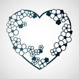 Openwork krans av blommor i formen av en hjärta Laser-cuttin Royaltyfri Fotografi