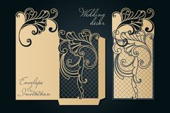 Openwork mall för laser-klipp Swirly dekorativt gifta sig inbjudankuvert royaltyfri illustrationer