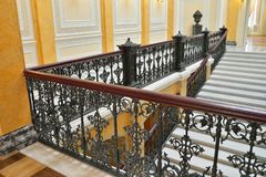 Openwork Marble lattice stairs in the Big Gatchina Palace. ST.PETERSBURG, RUSSIA - MARCH 03, 2017: Openwork Marble lattice stairs in the Big Gatchina Palace Stock Images