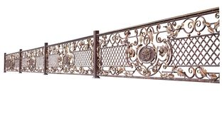 Openwork metal railing. Isolated on white background stock images