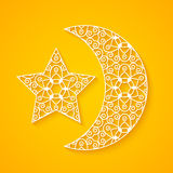 Openwork Moon and Star Royalty Free Stock Photography