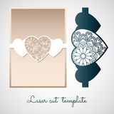 Openwork paper decor with hearts. Laser cutting template. Stock Images
