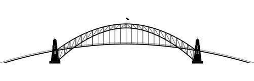 Openwork parabolic contour of the bridge stock images