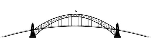 Openwork parabolisk kontur av bron Arkivbilder