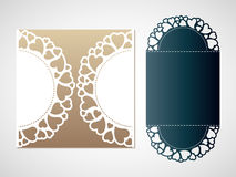 Openwork pattern of hearts. Vector Laser cutting template. Royalty Free Stock Photos