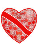 Openwork, red heart with a ribbon. Background for collages, cards, invitation cards Stock Image