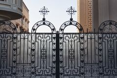 Openwork religious gates. Openwork gates. The Heavenly Cathedral. Coptic Church in Sharm El Sheikh Stock Images