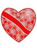 Openwork, rood hart met een lint Stock Afbeelding