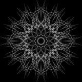 Openwork rund prydnad Dekorativ utsmyckad modell av krökta linjer Bilden göras i svartvitt, monokrom Royaltyfri Fotografi