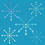 Openwork snowflakes. On a blue background Stock Image