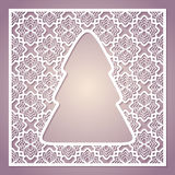 Openwork square card with a Christmas tree. Laser cutting template for greeting cards, envelopes, invitations, interior decorative elements Royalty Free Stock Photo