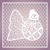 Openwork square card with cute snowman and Christmas tree. Laser Stock Photo